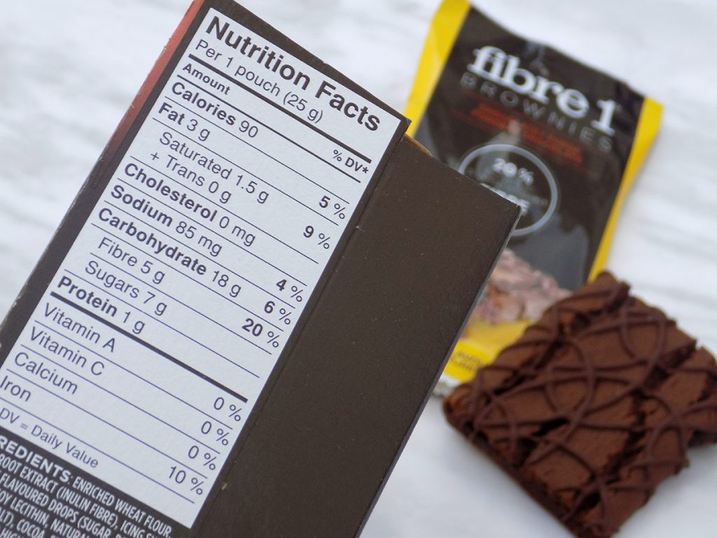 Fibre 1 Brownies Nutrition - Low Calorie Snacks Canada