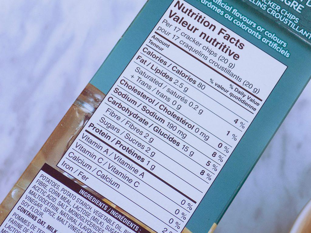 Special K Cracker Chips Salt & Vinegar Nutrition - Low Calorie Chips Canada